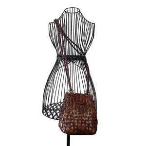 Boho Tan Basket Weave Crossbody Bag